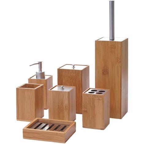 set de salle de bains 7 pieces hhg 786 accessoires de bain distributeur de savon bambou