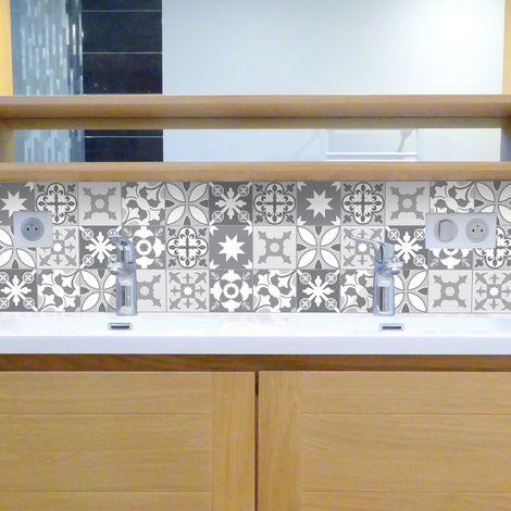 tendance ciment gris credence salle de bain en pvc carreaux de ciment gris lot de 2 bandeaux l70xh30cm