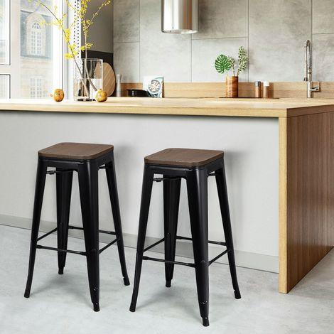yaheetech lot de 2 tabouret bar industriel design chaise haute de bar 76 5 cm metal et bois 150 kg pour cuisine bistrot salle a manger interieur et