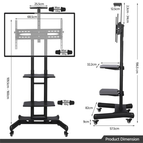 yaheetech support meuble tv sur pied a roulettes avec frein pour 32 a 65 pouce ecrans lcd led plasma vesa 200x200 mm a 600x400 mm support tv mobile
