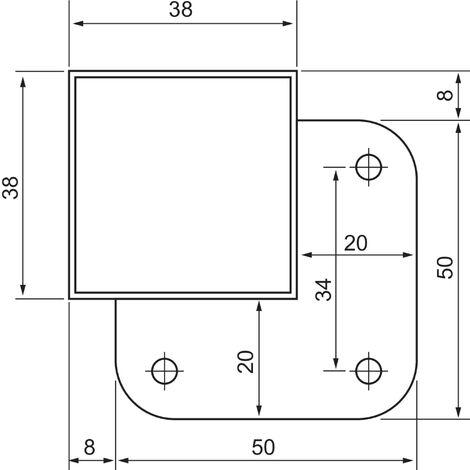 jeu de 4 pieds decoupables pour meuble suspendu 40x3 8x3 8cm inox chrome