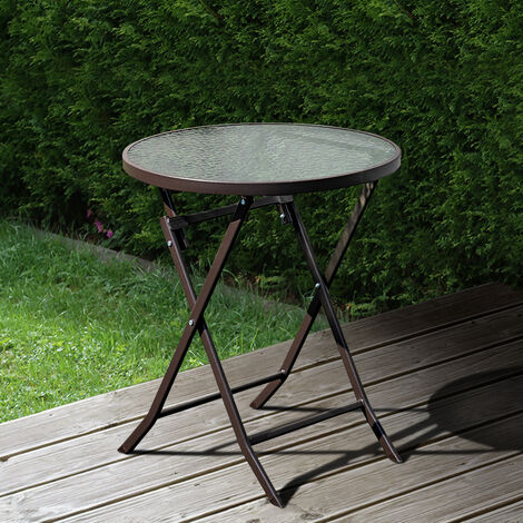outdoor patio metal foldable dining table or chairs dining set only brown table