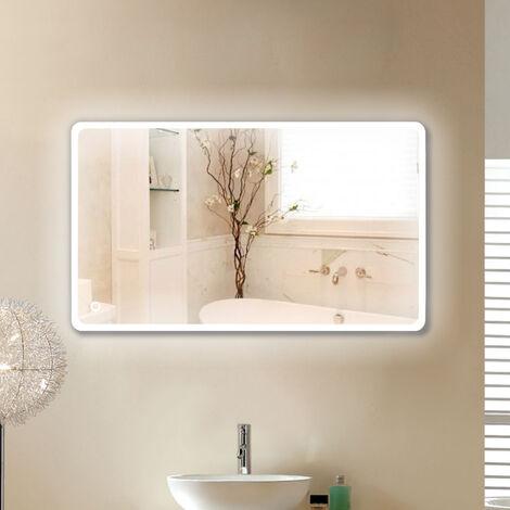 miroir de salle de bain d angle arrondi 120 70 cm blanc froid