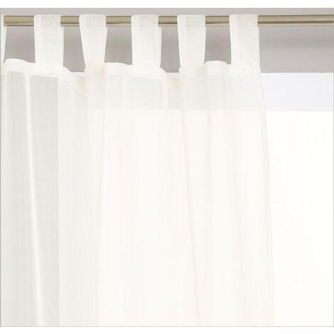 lot de 2 voilages a pattes blanc 140 x 240 cm