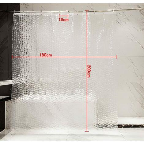 rideau de douche 180x200cm 100 eva semi transparent impermeable anti moisissure sans pvc 0 2mm d epaisseur 3d eau cube avec 12 anneaux salle de