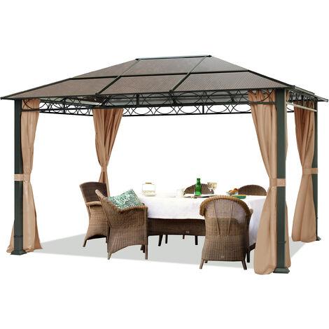 pavillon de jardin tonnelle alu deluxe impermeable de 3x4 m avec tente de reception a 4 cotes en toit en pc translucide bronze