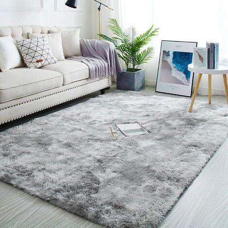 80x200cm tapis anti derapant doux moelleux shaggy chambre bureau couloir gris clair