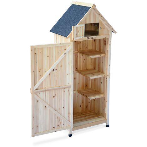armoire de jardin en bois mimosa naturel 77 x 54 x 182 cm abri de jardin en bois armoire de rangement range outils