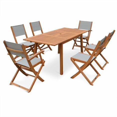 salon de jardin en bois almeria table 120 180cm rectangulaire 2 fauteuils et 4 chaises eucalyptus fsc et textilene bois taupe