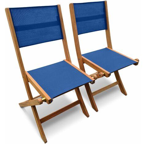 lot de 2 chaises de jardin en bois almeria 2 chaises pliantes eucalyptus fsc huile et textilene anthracite bleu nuit