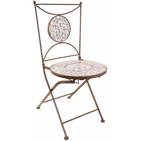 chaise jardin fer forge ceramique bleu