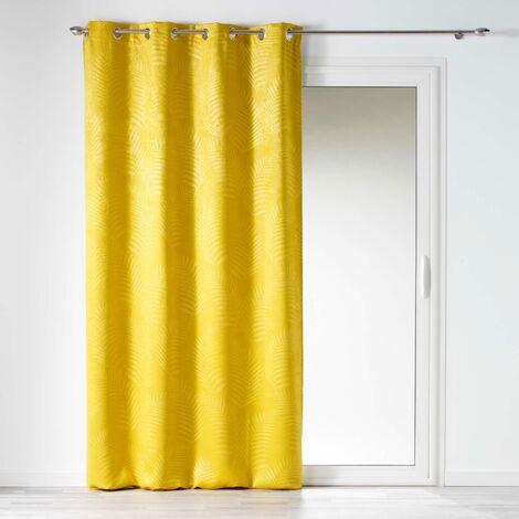 rideau occultant 140 x 240 cm en velours frappe tropicaline jaune