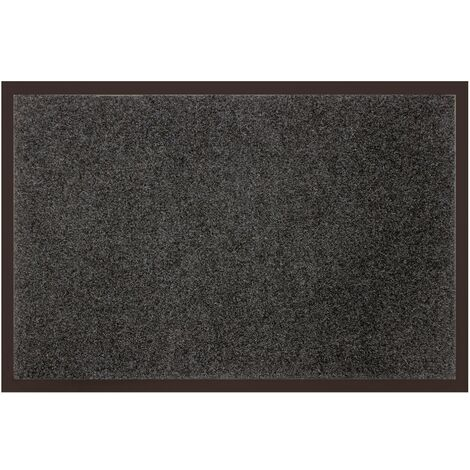 tapis d entree rectangle 40 x 60 cm anti poussiere uni telio gris