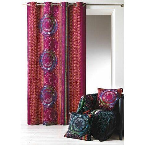 rideaux velours imprime avec oeillets