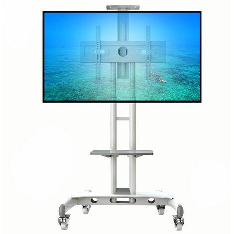 ava1500 blanc pied a roulettes reglable avec support et tablette pour tv lcd led 32 65 pouces blanc