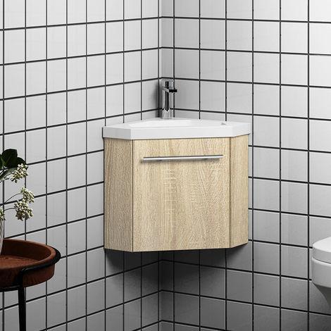 meuble salle de bain d angle 39 5x39 5x42cm 1 porte meuble suspendu avec la vasque couleur bois