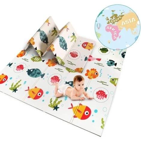 tapis de jeu bebe tapis d eveil enfant pliable double face impermeable a l eau materiau xpe non toxique taille 200x180x1 cm
