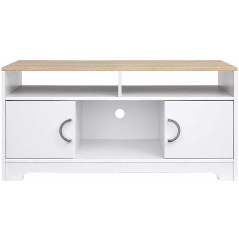 vasagle meuble tv buffet bas avec portes pour salon chambre structure simple placage melamine facile a nettoyer 105 x 40 x 52 cm blanc et