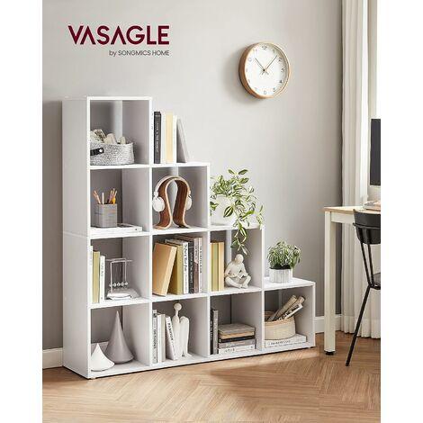 etagere escalier meuble de rangement 10 compartiments pour bibliotheque salon chambre blanc lbc10wtv1 white