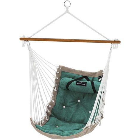 chaise hamac fauteuil suspendu balancoire xl avec barre en bambou 70 x 120 cm charge maximale 200 kg interieur et exterieur vert et beige