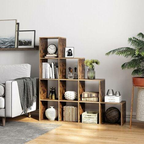vasagle etagere escalier meuble de rangement 10 compartiments bibliotheque pour bureau salon chambre marron rustique par songmics lbc10bx