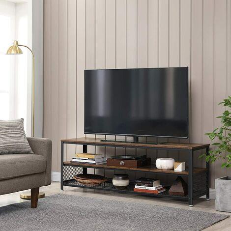 vasagle meuble tv pour television jusqu a 60 pouces modele longe table basse table de salon armature metallique couleur boisee pour chambre