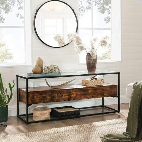 vasagle meuble tv pour television jusqu a 55 pouces support tele avec 2 tiroirs buffet dessus en verre trempe stable pour chambre salon style