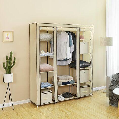 armoire de rangement 175 x 150 x 45cm beige penderie dressing en tissu intisse xxl lsf03m beige