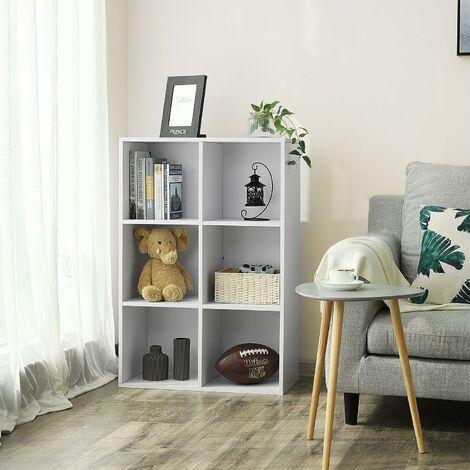 meuble de rangement etagere de 6 casiers bibliotheque rayonnage 65 5 x 30 5 x 97 5cm blanc lbc203d blanc