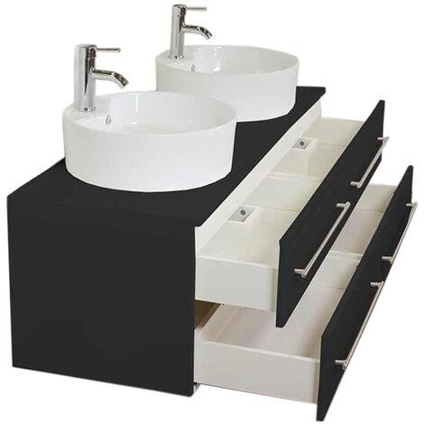 meuble salle de bain double vasque novum xl noir satine avec vasque a poser