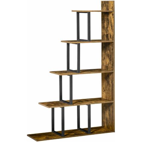 etagere bibliotheque separateur de piece style industriel en escalier 5 etageres dim 102l x 30l x 160h cm acier noir panneaux particules aspect vieux