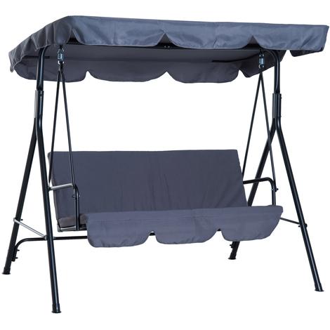 balancelle de jardin 3 places toit inclinaison reglable coussins assise et dossier 1 72l x 1 1l x 1 52h m acier noir polyester gris