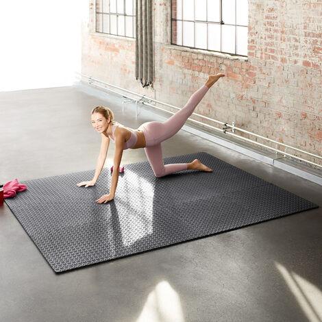 tapis de sol de gym sport avec 12 dalles de protection en mousse 61 cm x 61 cm noir