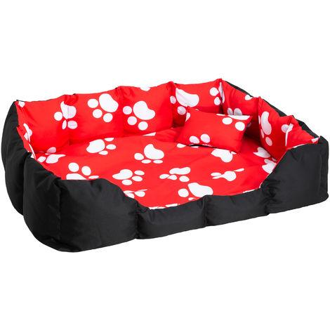 panier pour chien tapis de sol coussin taille xxl 110 cm x 90 cm x 20 cm noir rouge avec motifs