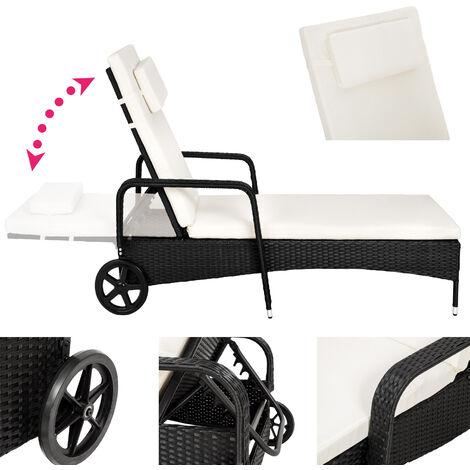 bain de soleil de jardin reglable a roulettes en resine tressee 200 cm x 70 cm x 33 cm noir coussin