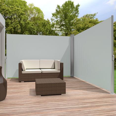 brise vue retractable de balcon jardin terrasse occultant double en pvc et aluminium 6 m x 1 6 m gris