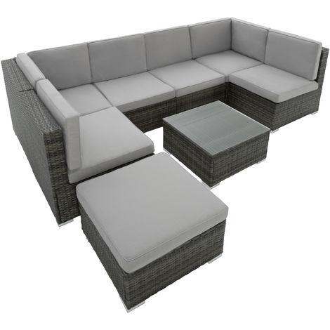 salon de jardin venise 7 places design 6 fauteuils 1 tabouret 1 table en resine tressee gris
