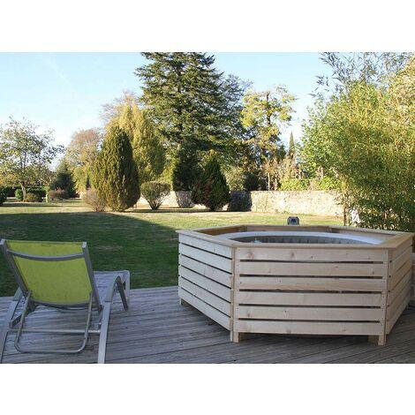 entourage en bois aquazendo pour spa gonflable rond o 1 96 m x ht max71cm