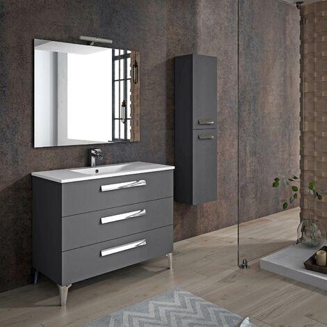 meuble de salle de bain linares 100 cm gris anthracite