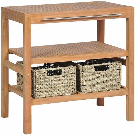 meuble de salle de bain avec 2 paniers teck massif 74x45x75 cm