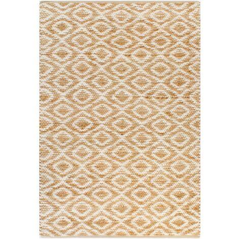 tapis tisse a la main jute tissu 120 x 180 cm naturel et blanc