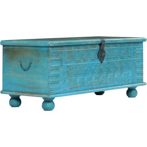 coffre de rangement bois de manguier massif 100x40x41 cm bleu