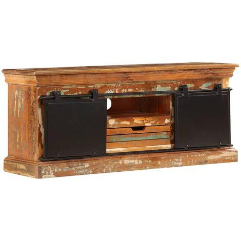 meuble tv 110 x 30 x 45 cm bois de recuperation massif