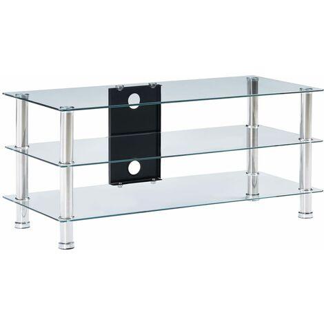 meuble tv verre trempe 90x40x40 cm transparent