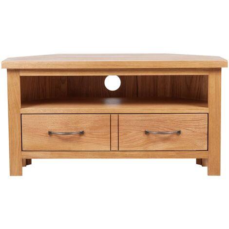 meuble tv d angle avec tiroir 88x42x46 cm bois de chene solide marron