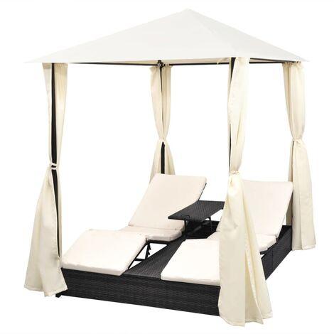 chaise longue double avec rideaux resine tressee noir