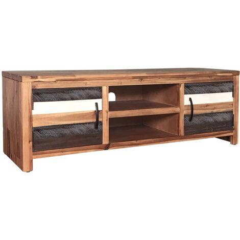 meuble tv bois massif d acacia 120 x 35 x 40 cm