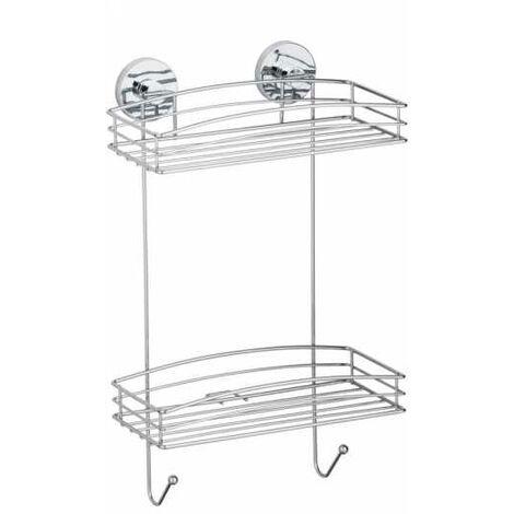 vacuum loc etagere murale salle de bain sans percer a 2 niveaux wenko