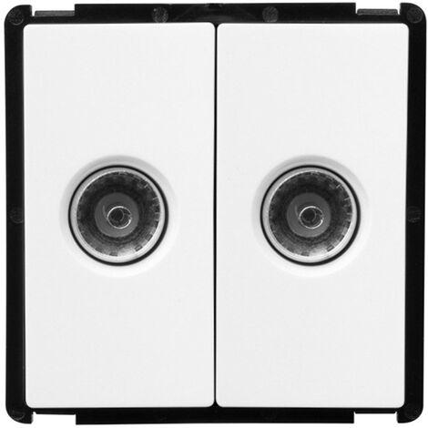 module double prise tv modern blanc blanco