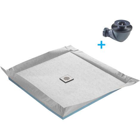 receveur de douche a carreler standard 80 x 80 cm x 4 mm siphon 360 natte etanche